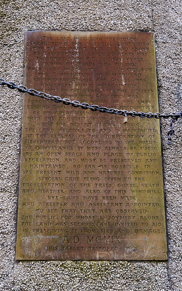 Tablet on Bidston Windmill - click the image for a transcription